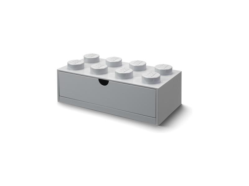 LEGO stolní box 8 se zásuvkou šedý
