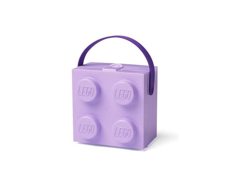 LEGO box s rukojetí 166x165x117mm - levandulový