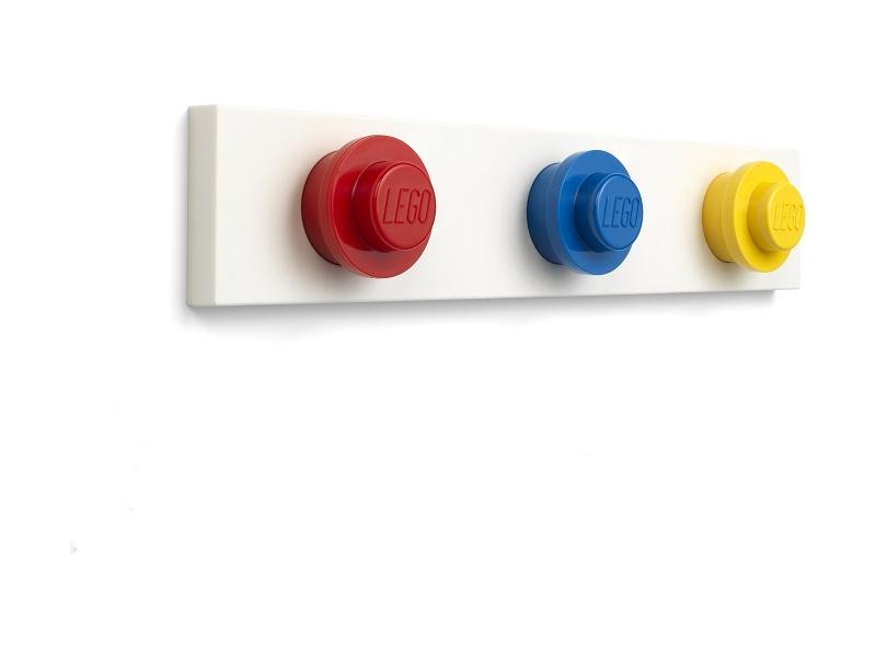 LEGO nástěnný věšák - červená, modrá, žlutá