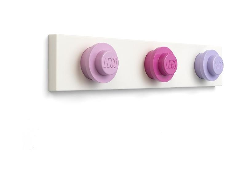 LEGO nástěnný věšák - světle růžová, tmavě růžová, fialová