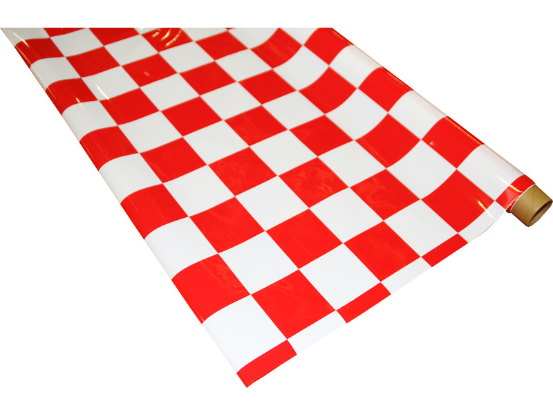 IronOnFilm - kostkovaná bílo/červená velká 0.6x2m