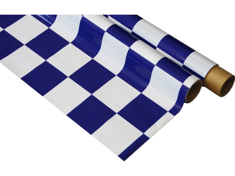 IronOnFilm - kostkovaná bílo/modrá velká 0.6x2m