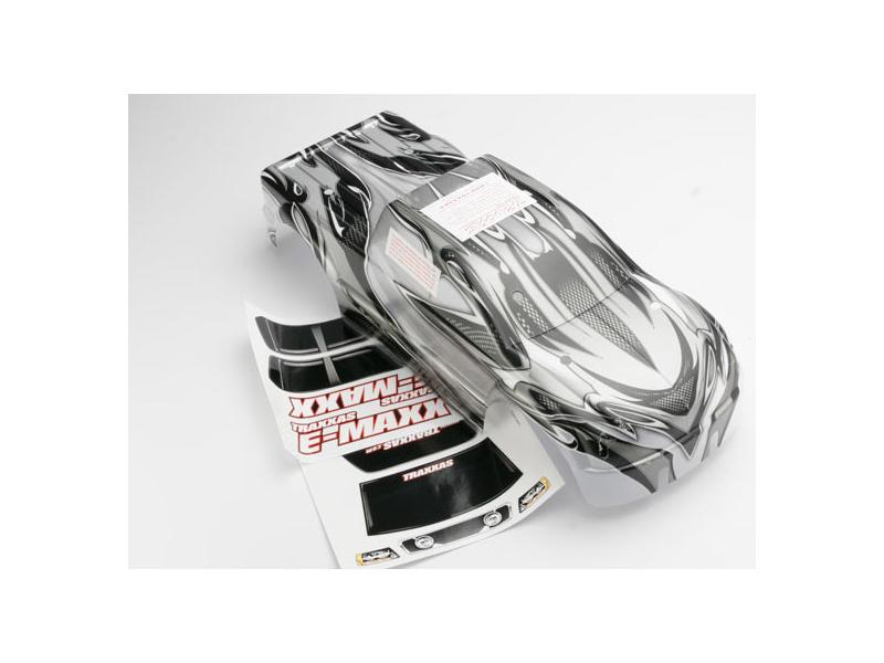 E-Maxx LW - karosérie ProGraphix stříbrná, TRA3911R, Traxxas 3911R