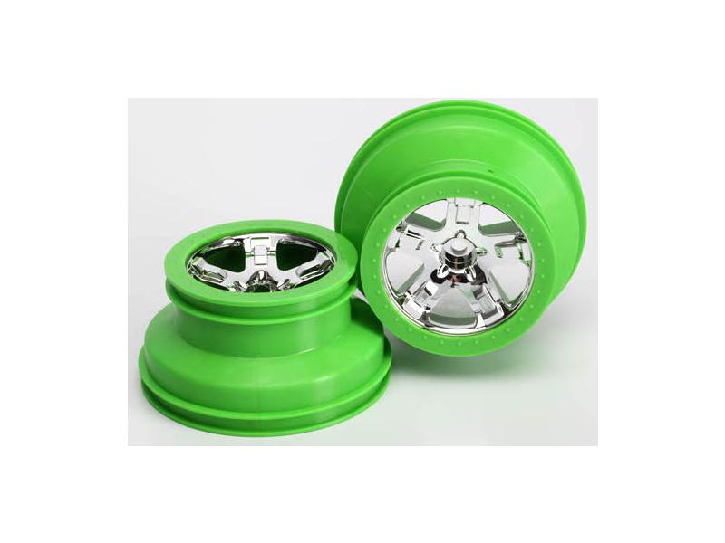 """Traxxas disk 2.2/3.0"""" SCT stříbrný-zelený (2) (2WD přední), Traxxas 5866, TRA5866"""