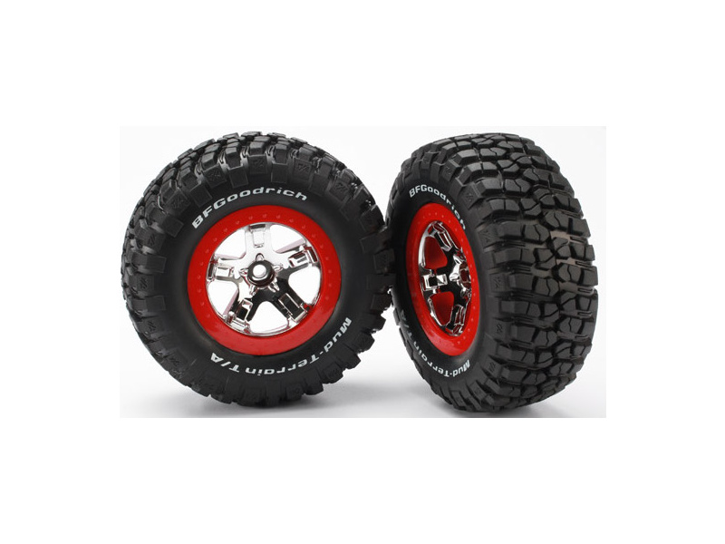 """Traxxas kolo 2.2/3.0"""", disk SCT stříbrný-červený, pneu KM2 (2) (2WD přední), Traxxas 5869, TRA5869"""