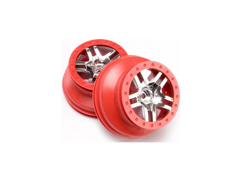 """Traxxas disk 2.2/3.0"""" SCT Split-Spoke stříbrný/červený (2) (2WD přední), Traxxas 5876A, TRA5876A"""