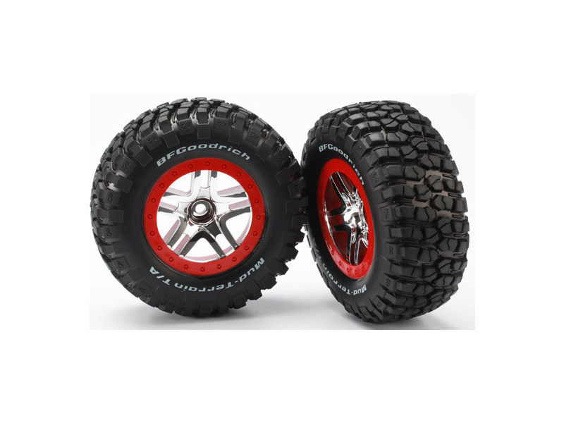"""Traxxas kolo 2.2/3.0"""", disk SCT Split-Spoke stříbrný-červený, pneu KM2 (2) (2WD přední), Traxxas 5877A, TRA5877A"""