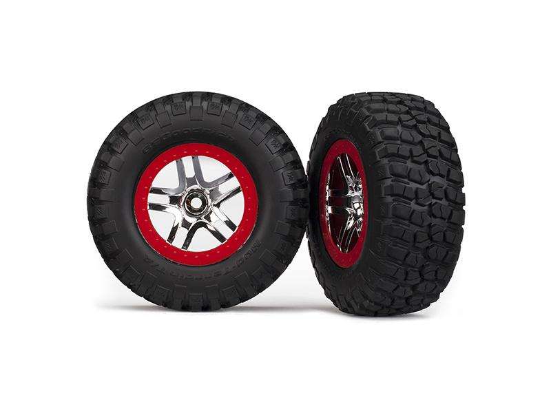 """Traxxas kolo 2.2/3.0"""", disk SCT Split-Spoke stříbrný-červený, pneu KM2 S1 (2) (2WD přední), Traxxas 5877R, TRA5877R"""