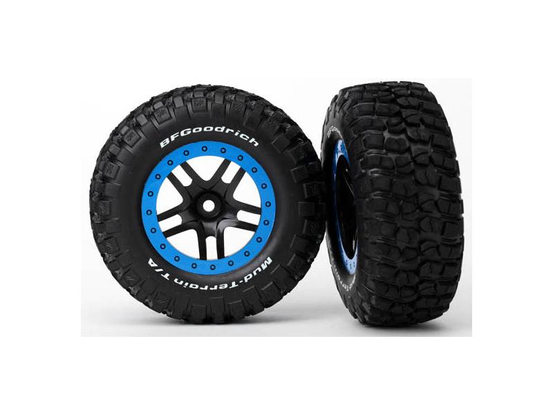 "Traxxas kolo 2.2/3.0"", disk SCT Split-Spoke černý-modrý, pneu KM2 (2), Traxxas 5883A, TRA5883A"