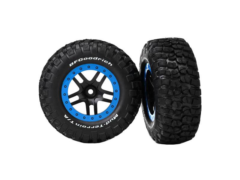 """Traxxas kolo 2.2/3.0"""", disk SCT Split-Spoke černý-modrý, pneu KM2 (2) (2WD přední), Traxxas 5885A, TRA5885A"""