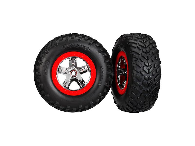 """Traxxas kolo 2.2/3.0"""", disk SCT stříbrný-červený, pneu SCT (2), Traxxas 5887, TRA5887"""