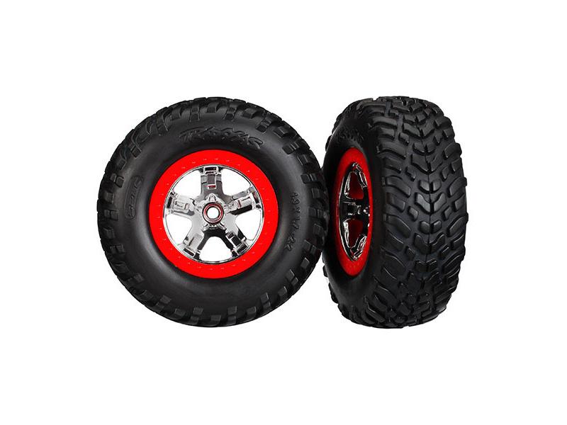 """Traxxas kolo 2.2/3.0"""", disk SCT stříbrný-červený, pneu SCT S1 (2), Traxxas 5887R, TRA5887R"""