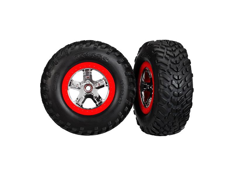 """Traxxas kolo 2.2/3.0"""", disk SCT stříbrný-červený, pneu SCT (2) (2WD přední), Traxxas 5888, TRA5888"""