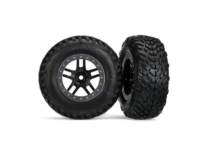 """Traxxas kolo 2.2/3.0"""", disk SCT Split-Spoke černý-saténový, pneu SCT (2) (2WD přední), Traxxas 5890, TRA5890"""