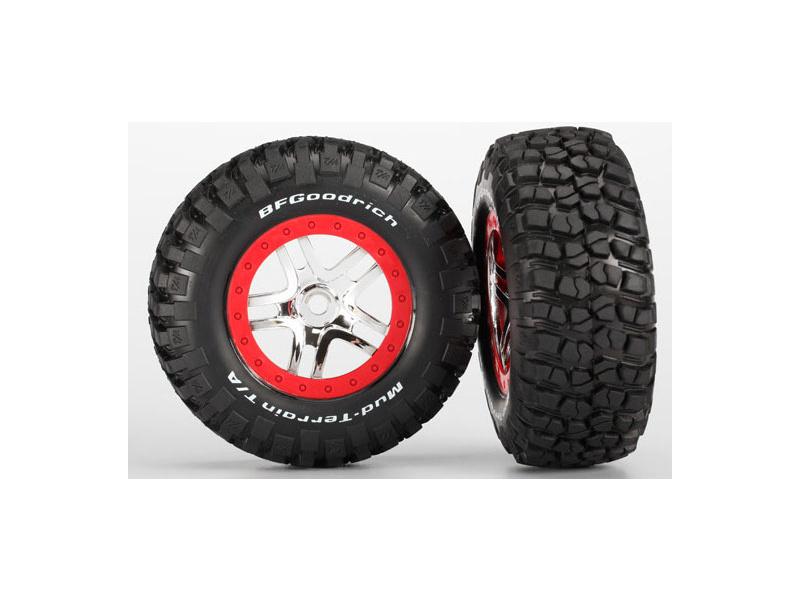"""Traxxas kolo 2.2/3.0"""", disk SCT Split-Spoke stříbrný-červený, pneu KM2 (2), Traxxas 5975A, TRA5975A"""
