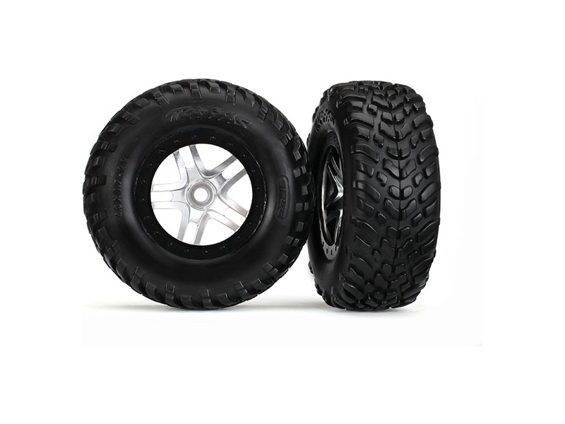 "Traxxas kolo 2.2/3.0"", disk SCT Split-Spoke stříbrný-černý, pneu SCT S1 (2), Traxxas 5975X, TRA5975X"