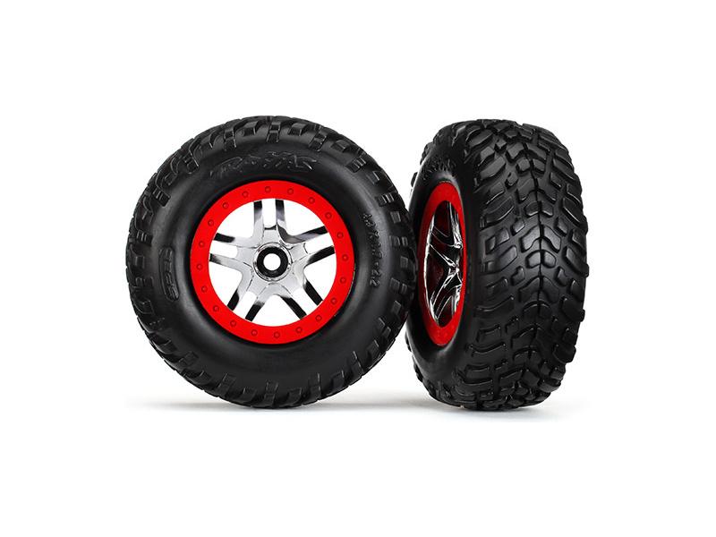 """Traxxas kolo 2.2/3.0"""", disk SCT Split-Spoke stříbrný-červený, pneu SCT (2), Traxxas 5977, TRA5977"""