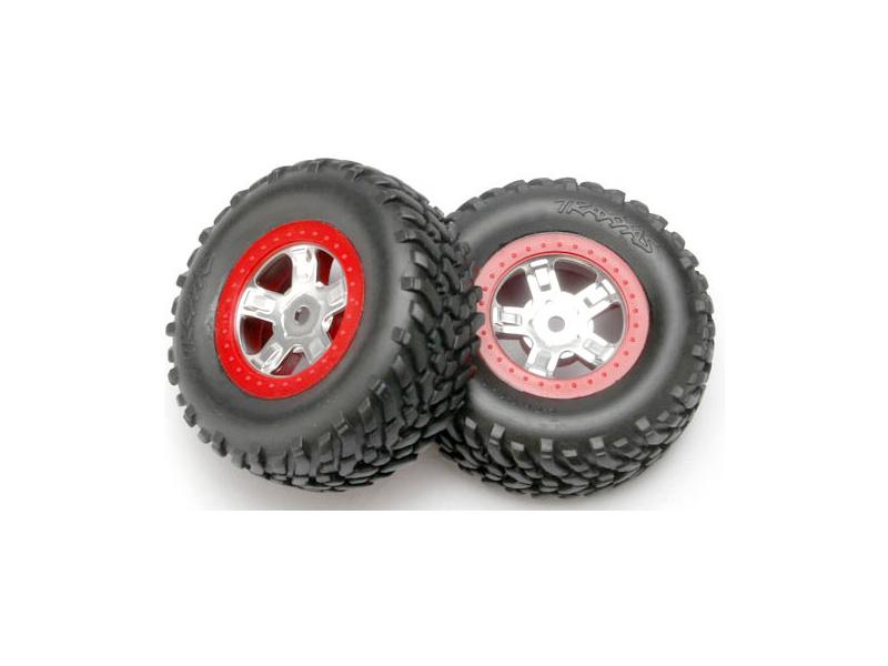 """Traxxas kolo 1.4/1.8"""", disk SCT saténový-červený, pneu SCT (2), Traxxas 7073A, TRA7073A"""