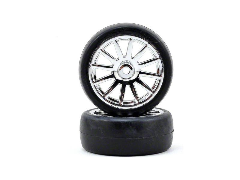 Traxxas kolo, disk 12-spoke stříbrný, pneu slick (2), Traxxas 7573, TRA7573