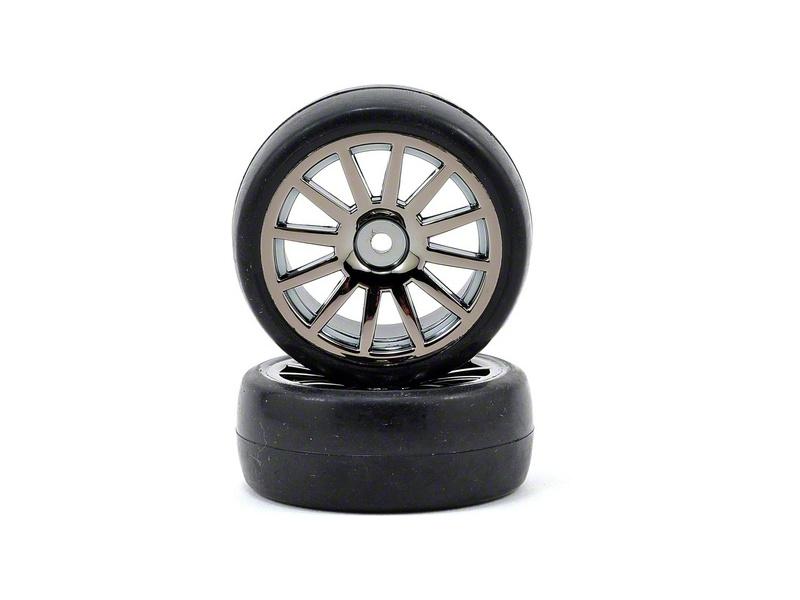 Traxxas kolo, disk 12-spoke černý, pneu slick (2), Traxxas 7573A, TRA7573A