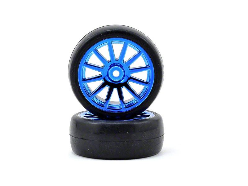Traxxas kolo, disk 12-spoke modrý, pneu slick (2), Traxxas 7573R, TRA7573R