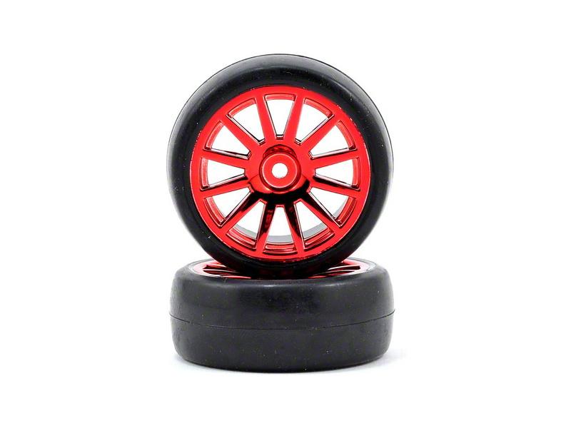 Traxxas kolo, disk 12-spoke červený, pneu slick (2), Traxxas 7573X, TRA7573X