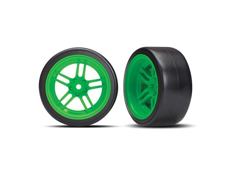 "Traxxas kolo 1.9"", disk split-spoke zelený, pneu Drift (2) (zadní), Traxxas 8377G, TRA8377G"