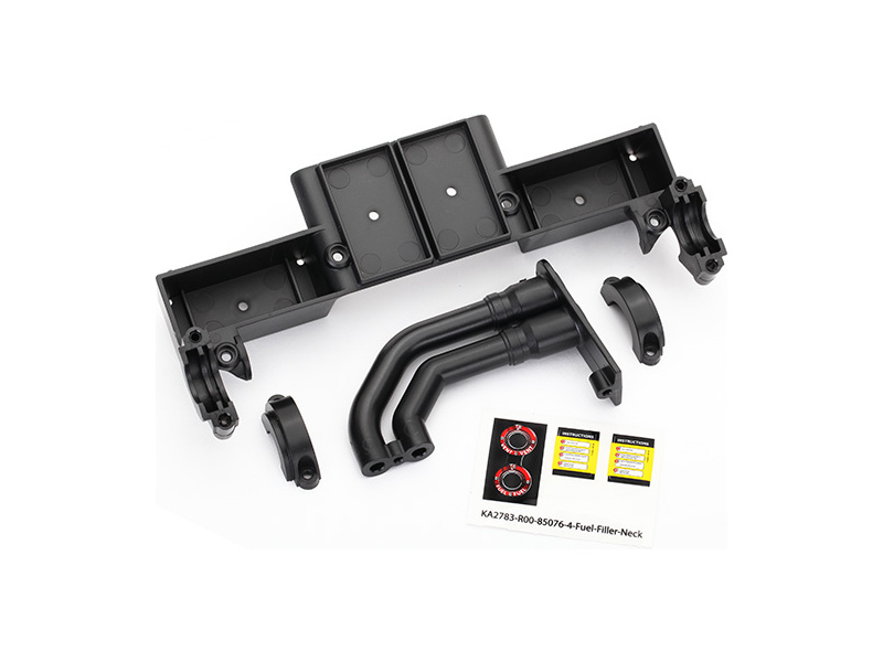 Traxxas Chassis tray/ driveshaft clamps/ fuel filler (black), Traxxas 8420, TRA8420