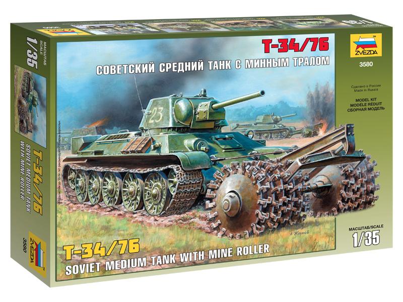 Zvezda sovětský tank T-34/76 s odminovačem (1:35)