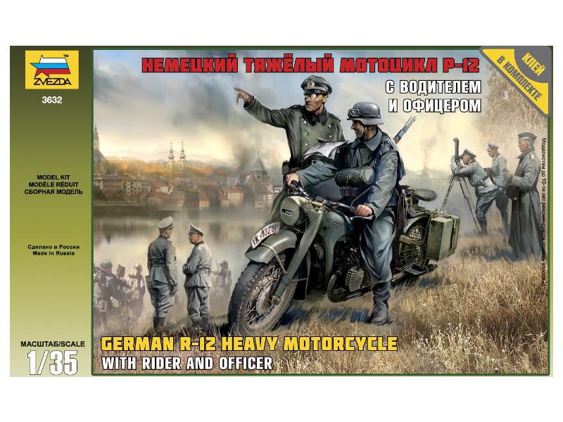 Zvezda německý motocykl R-12 s řidičem (1:35)
