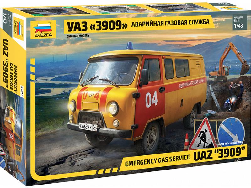 Zvezda UAZ-452 3909 pohotovostní vozidlo plynařů (1:43)