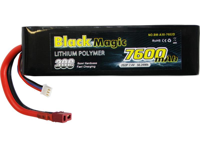 Black Magic LiPol Car 7.4V 7600mAh 30C Deans