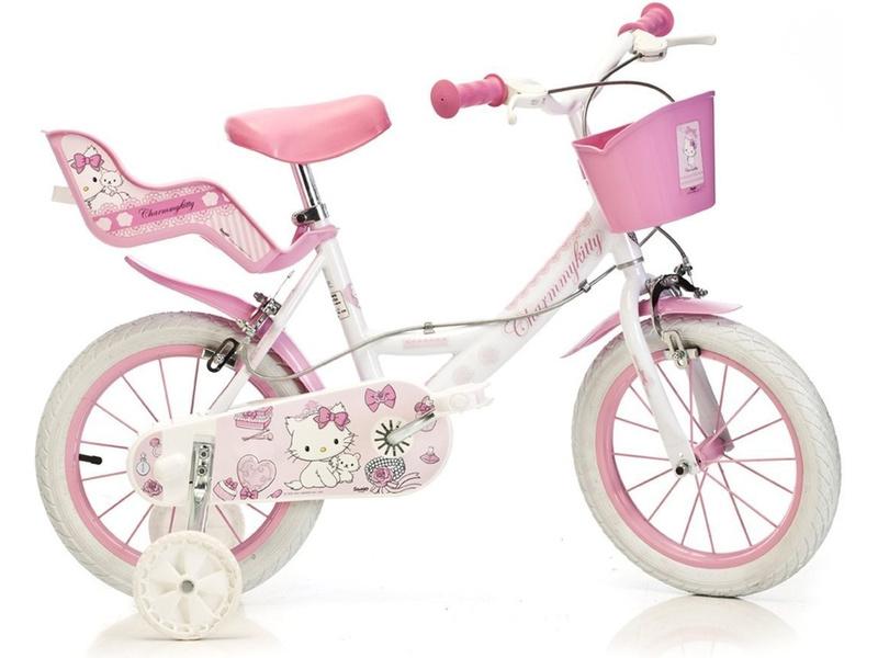 DINO Bikes - Dětské kolo 16″ Hello Kitty se sedačkou pro panenku a košíkem
