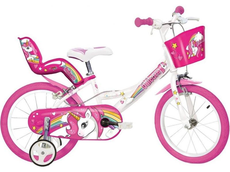 DINO Bikes - Dětské kolo 16″ Jednorožec se sedačkou