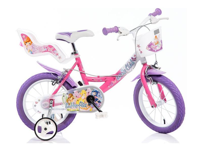 DINO Bikes - Dětské kolo 16″ Winx se sedačkou pro panenku a košíkem