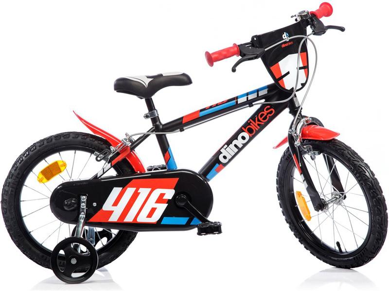 "DINO Bikes - Dětské kolo 16"" černo-červené"