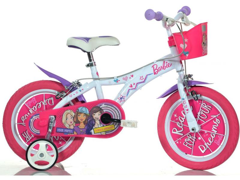 DINO Bikes - Dětské kolo 14″ Barbie s košíkem