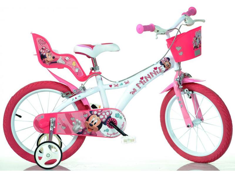 DINO Bikes - Dětské kolo 14″ Minnie se sedačkou pro panenku a košíkem