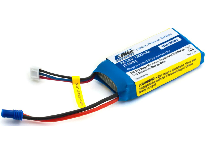 Náhľad produktu - E-flite LiPol 7.4V 1300mAh 20C EC2