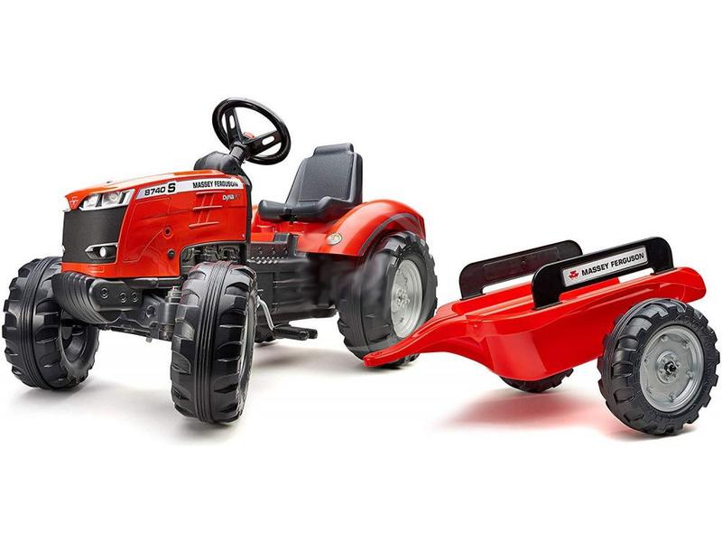 FALK - Šlapací traktor Massey Ferguson S8740 s vlečkou