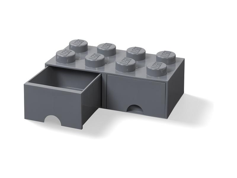 LEGO úložný box s šuplíky 250x500x180mm - tmavě šedý